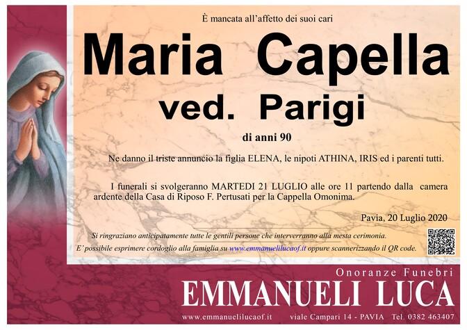 Necrologio di CAPPELLA MARIA