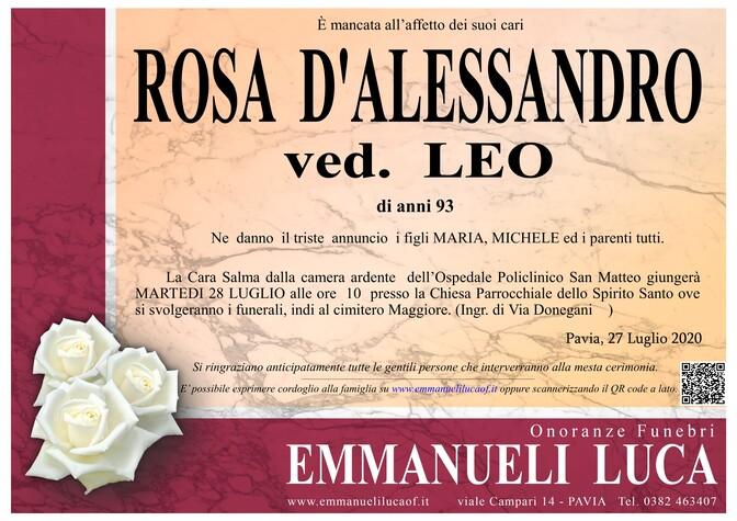 Necrologio di D' ALESSANDRO ROSA ved. LEO