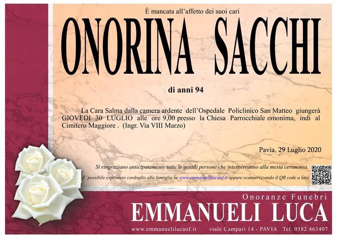 Necrologio di SACCHI ONORINA
