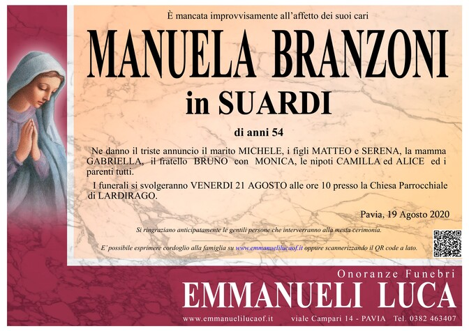 Necrologio di BRANZONI MANUELA in SUARDI