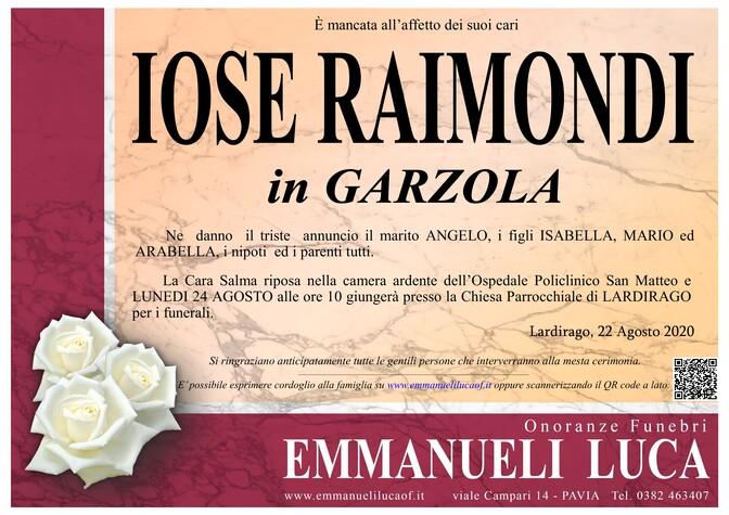 Necrologio di RAIMONDI IOSE in GARZOLA
