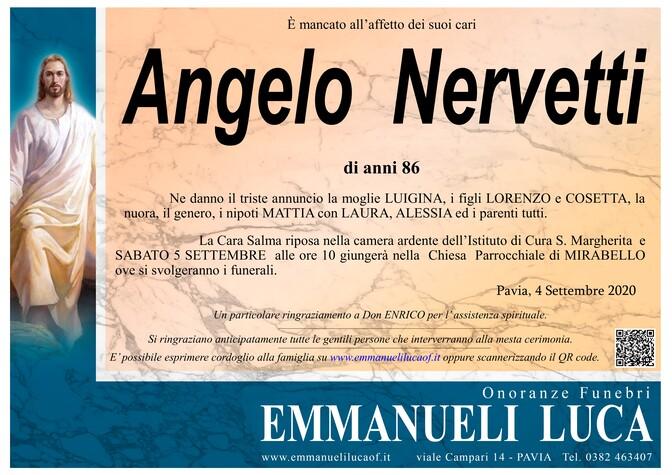 Necrologio di NERVETTI ANGELO