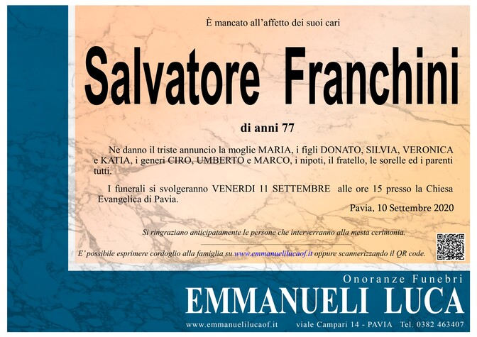 Necrologio di FRANCHINI SALVATORE