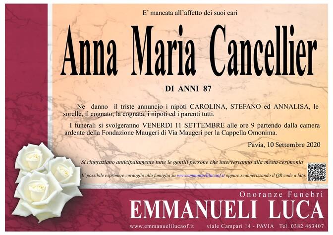 Necrologio di CANCELLIER ANNA MARIA