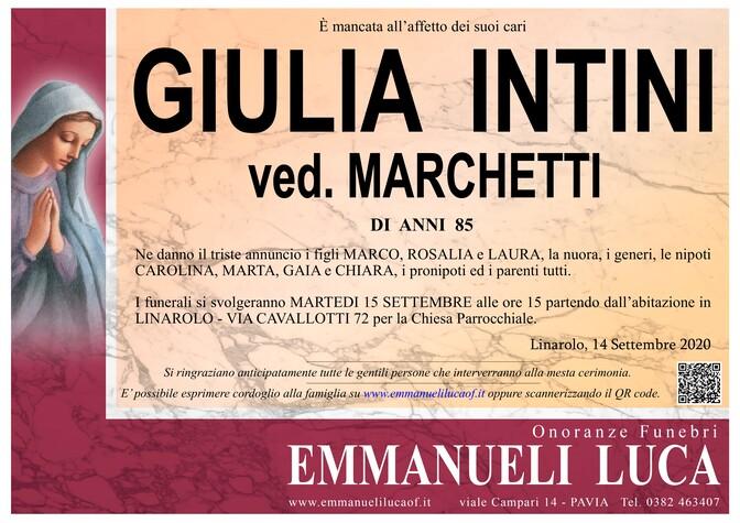 Necrologio di GIULIA INTINI ved. MARCHETTI