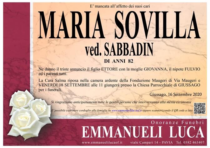 Necrologio di SOVILLA MARIA ved. SABBADIN