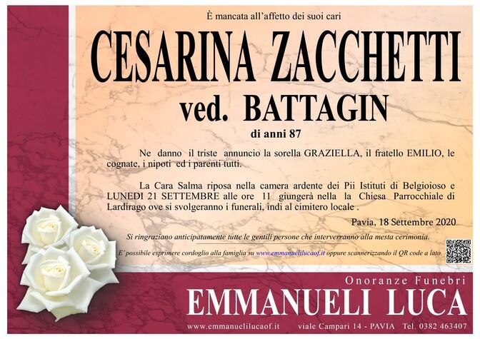 Necrologio di ZACCHETTI CESARINA ved. BATTAGIN