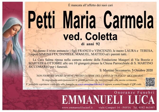 Necrologio di PETTI MARIA CARMELA ved. COLETTA
