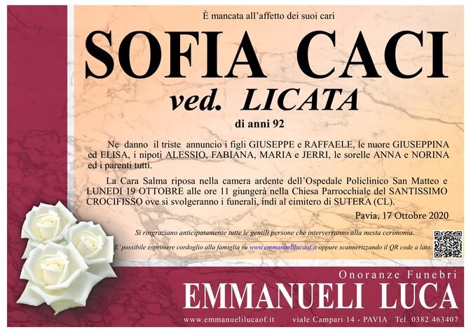 Necrologio di CACI SOFIA ved. LICATA