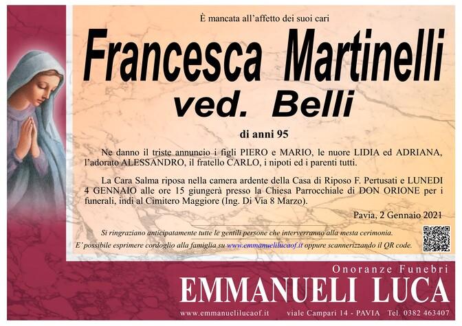 Necrologio di MARTINELLI FRANCESCA   ved. BELLI