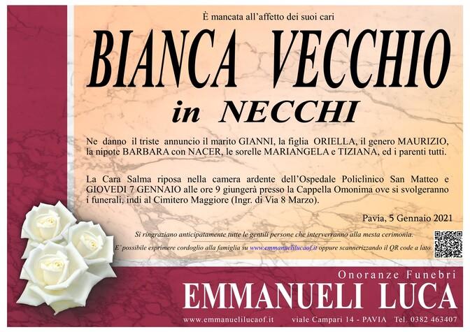 Necrologio di VECCHIO BIANCA in NECCHI