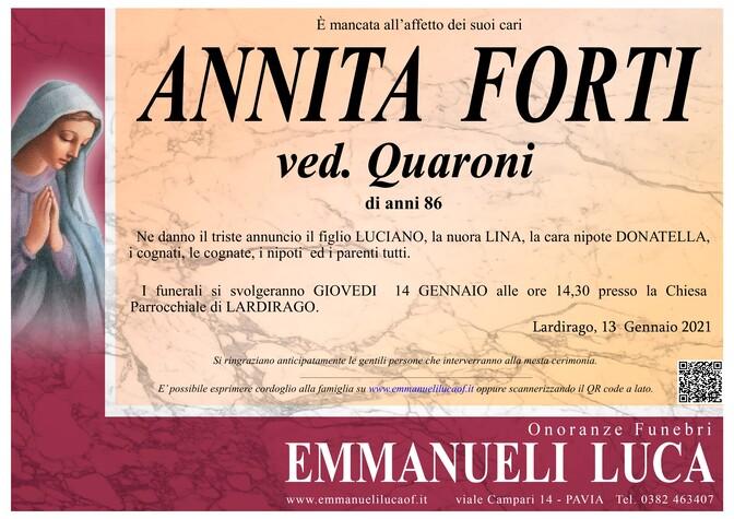 Necrologio di FORTI ANNITA ved. QUARONI
