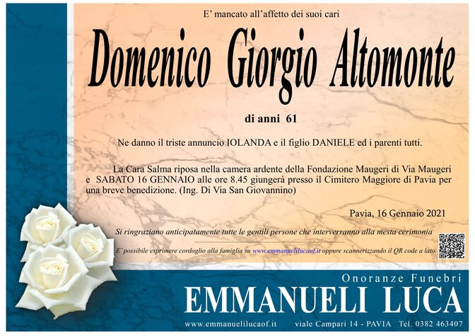 Necrologio di ALTOMONTE DOMENICO GIORGIO