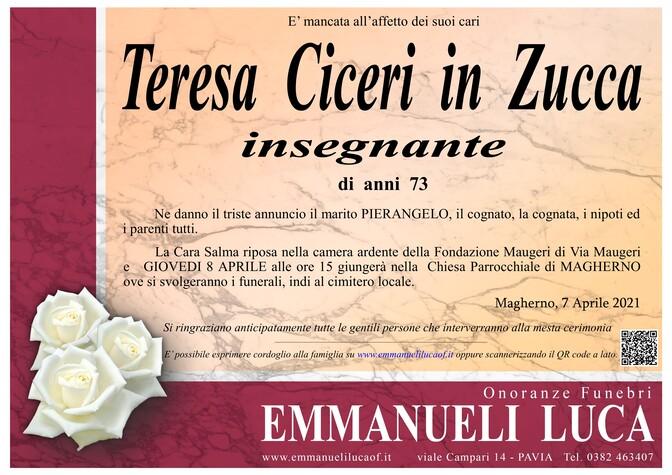 Necrologio di CICERI TERESA in ZUCCA