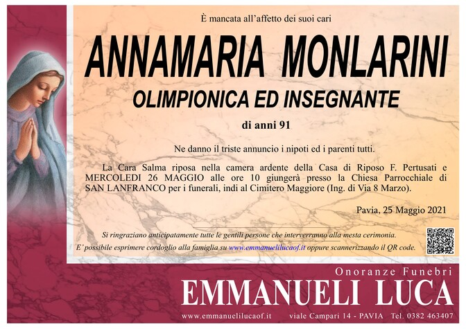 Necrologio di MONLARINI ANNAMARIA
