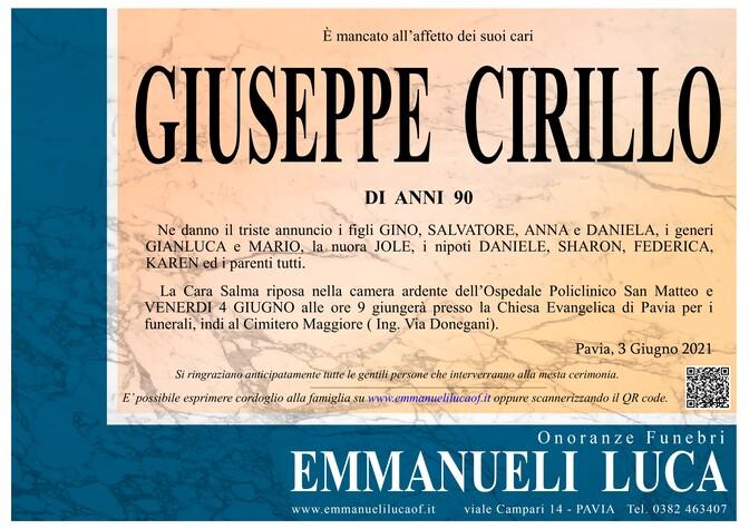 Necrologio di GIUSEPPE CIRILLO