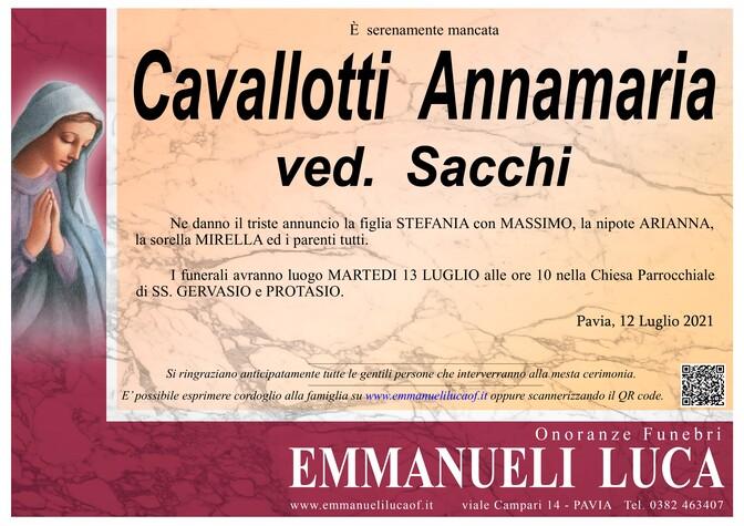 Necrologio di CAVALLOTTI ANNAMARIA ved. SACCHI