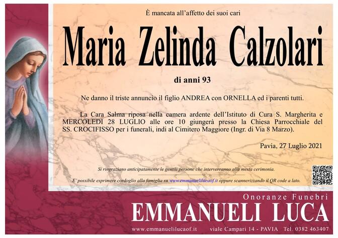 Necrologio di CALZOLARI MARIA ZELINDA