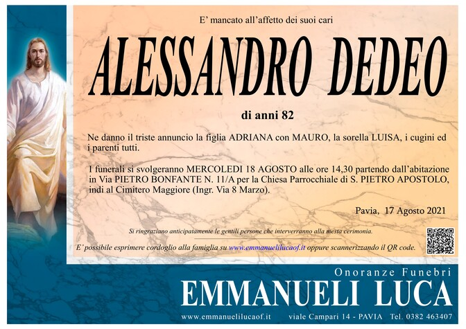 Necrologio di DEDEO ALESSANDRO