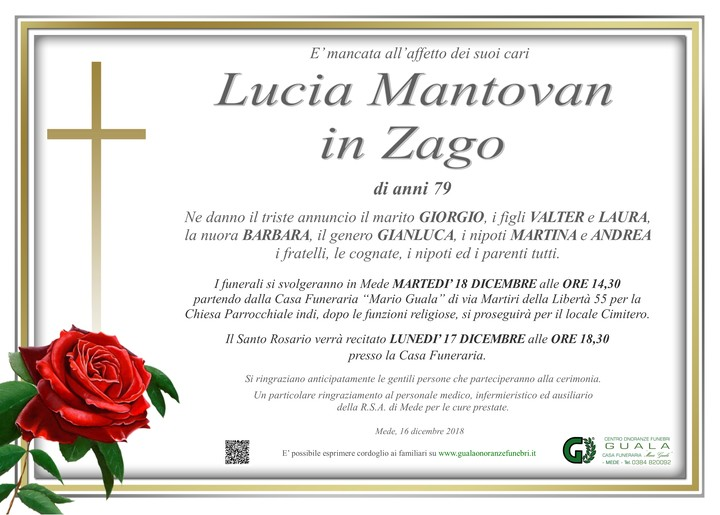 Necrologio di Lucia Mantovan in Zago