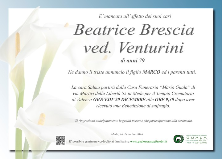 Necrologio di Beatrice Brescia ved. Venturini