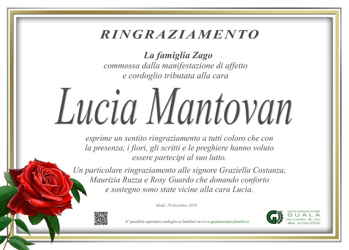 Ringraziamento per Lucia Mantovan in Zago