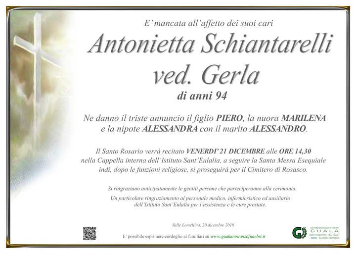 Necrologio di Antonietta Schiantarelli ved. Gerla