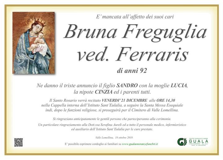Necrologio di Bruna Freguglia ved. Ferraris