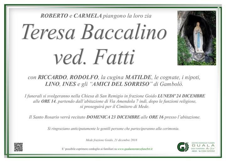 Necrologio di Teresa Baccalino ved. Fatti