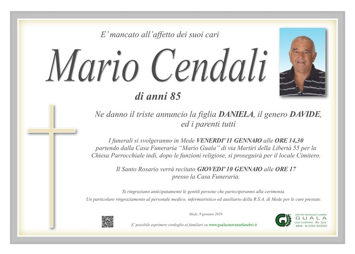 Necrologio di Mario Cendali