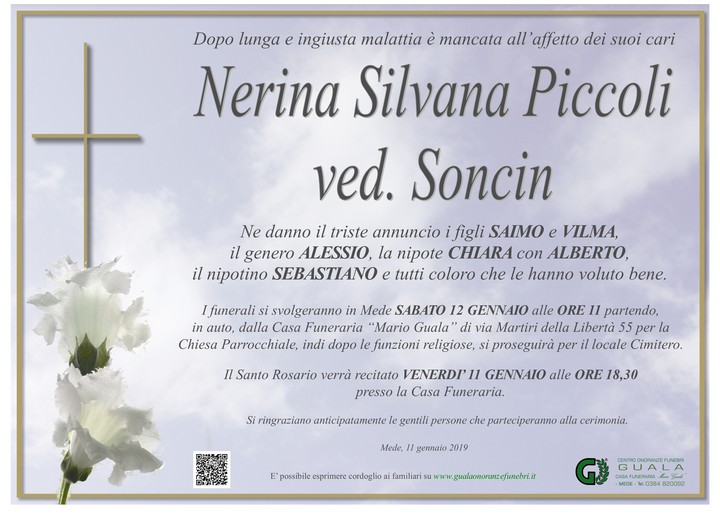 Necrologio di Nerina Silvana Piccoli ved. Soncin