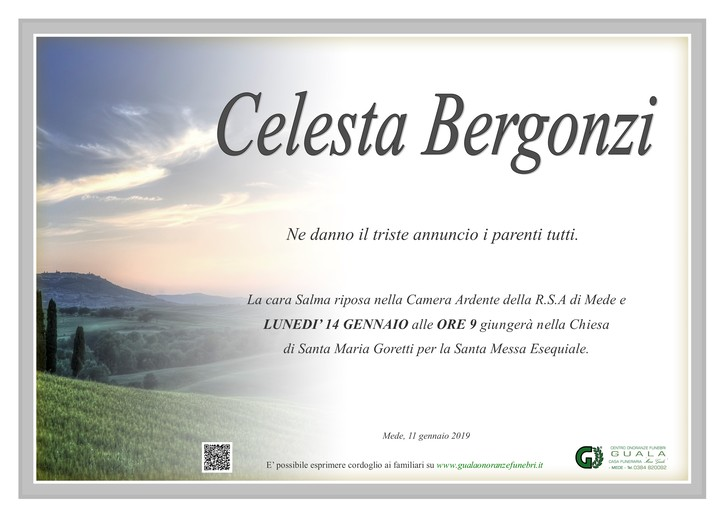 Necrologio di Celesta Bergonzi ved. Mattioz