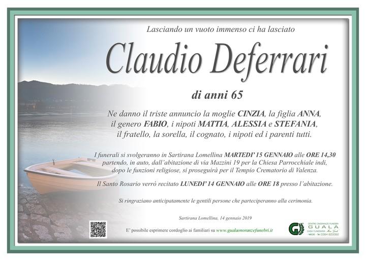 Necrologio di Claudio Deferrari