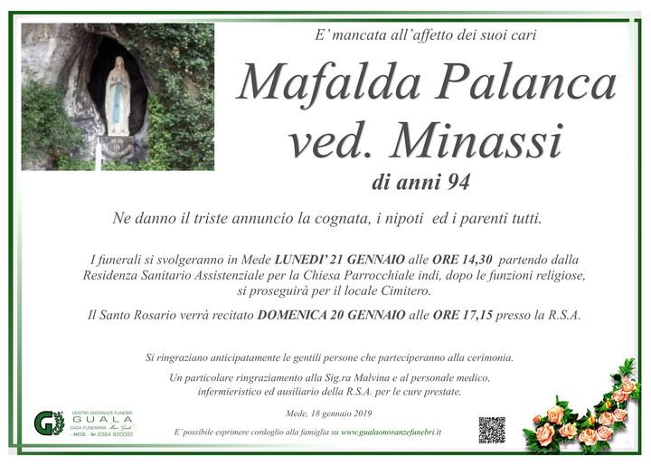 Necrologio di Mafalda Palanca ved. Minassi