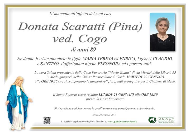 Necrologio di Donata Scaratti (Pina) ved. Cogo