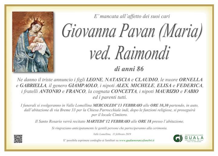 Necrologio di Giovanna Pavan (Maria) ved. Raimondi