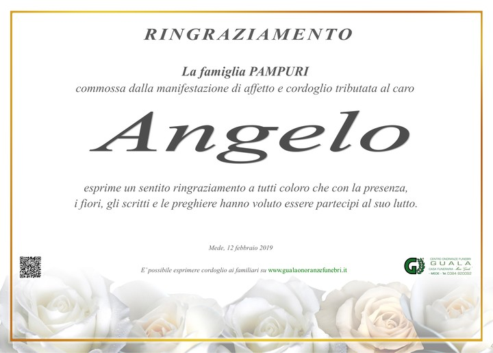 Ringraziamento per Angelo Pampuri