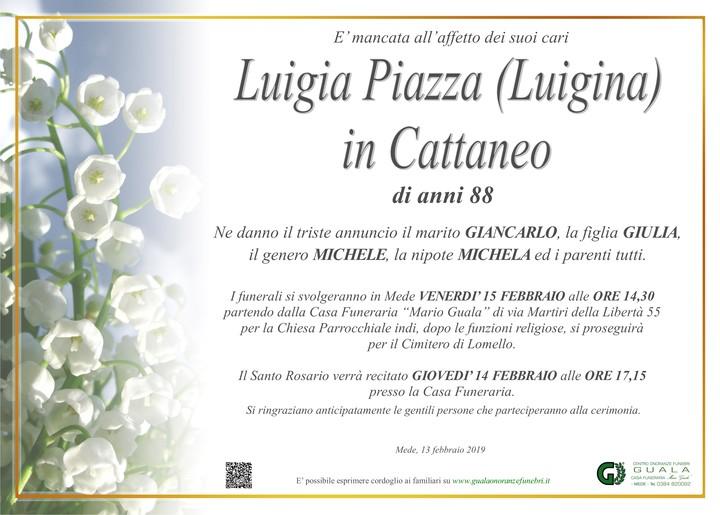 Necrologio di Luigia Piazza (Luigina) in Cattaneo