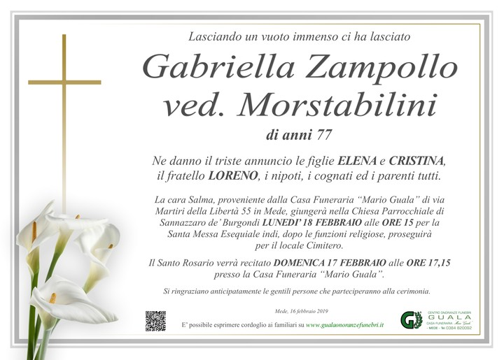 Necrologio di Gabriella Zampollo ved. Mortstabilini