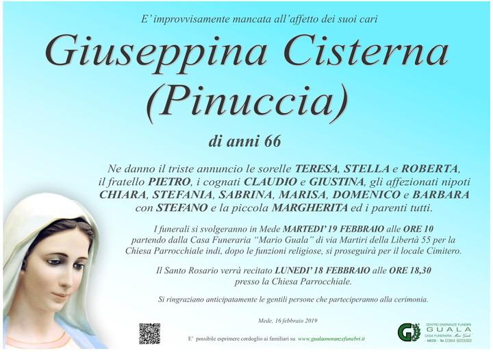 Necrologio di Giuseppina Cisterna (Pinuccia)