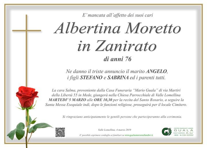 Necrologio di Albertina Moretto in Zanirato