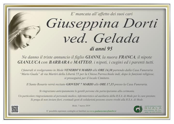 Necrologio di Giuseppina Dorti ved. Gelada