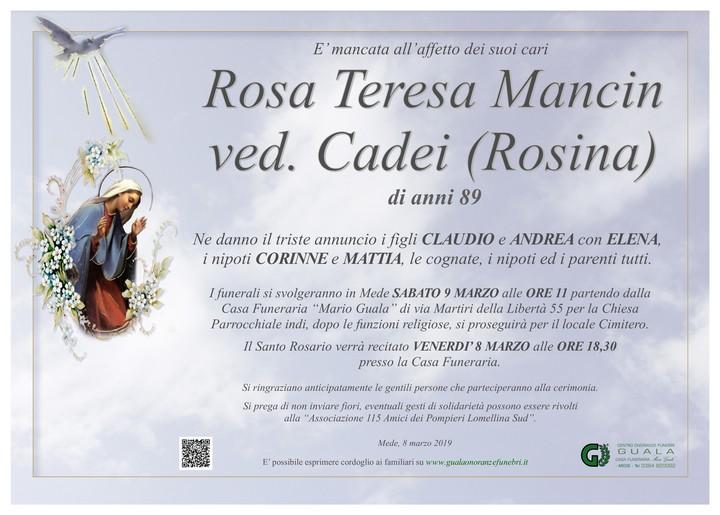 Necrologio di Rosa Teresa Mancin (Rosina) ved. Cadei