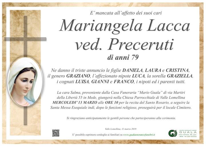 Necrologio di Mariangela Lacca ved. Preceruti