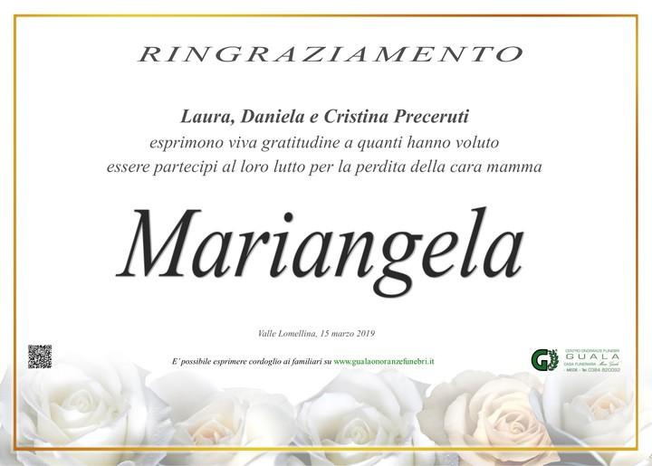 Ringraziamenti per Mariangela Lacca ved. Preceruti
