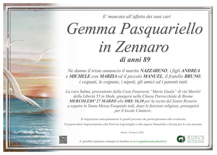 Necrologio di Gemma Pasquariello in Zennaro