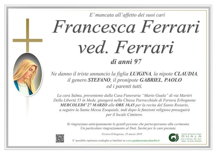 Necrologio di Francesca Ferrari ved. Ferrari