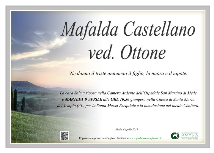 Necrologio di Mafalda Castellano ved. Ottone