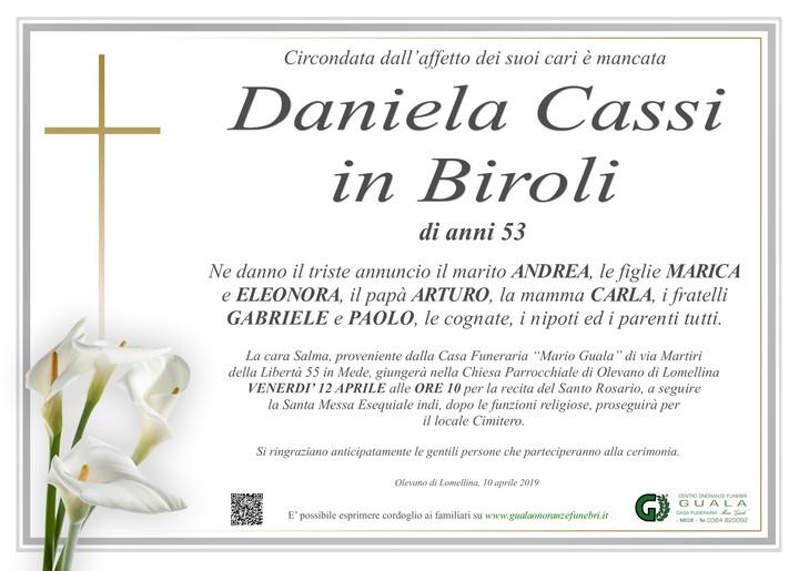Necrologio di Daniela Cassi