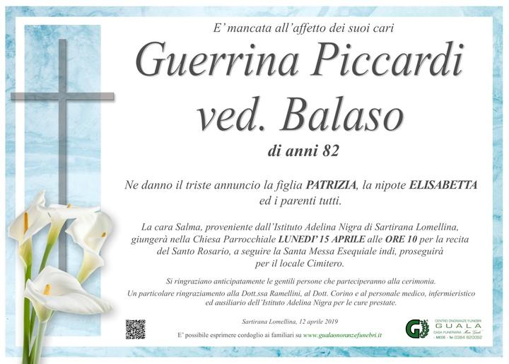Necrologio di Guerrina Piccardi ved. Balaso